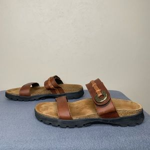 NOT Double Strap Brown Leather Sandals Size 38